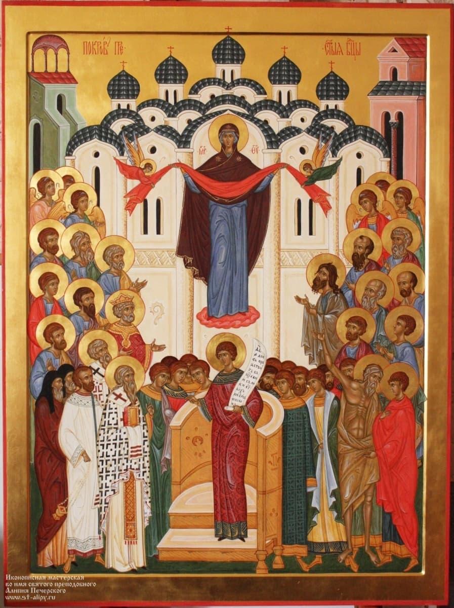 Икона Покров Божией Матери – заказать икону в иконописной мастерской в  Москве